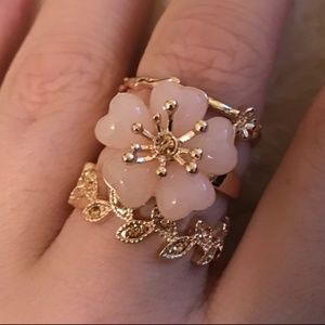 Torrid Rose Gold Floral Leaf Rings - Set of 3